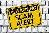 stock photo of theft  - Computer keyboard keys with warning sign with words Scam Alert Scam Alert - JPG