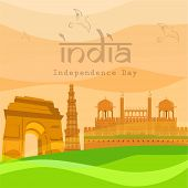stock photo of india gate  - Indian Independence Day background with famous monuments India Gate - JPG