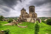 stock photo of fortified wall  - Medieval 14th century castle in Bedzin - JPG