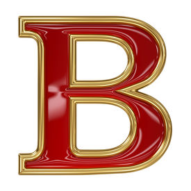 stock photo of b-double  - Ruby red with golden outline alphabet letter symbol  - JPG