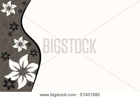 background brown ecru big flowers