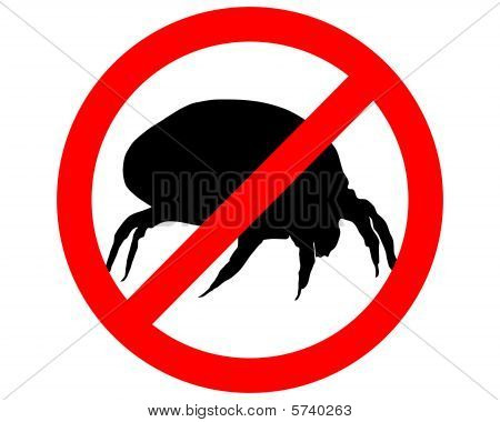 The Illustration Of A Prohibition Sign For House Dust Mites