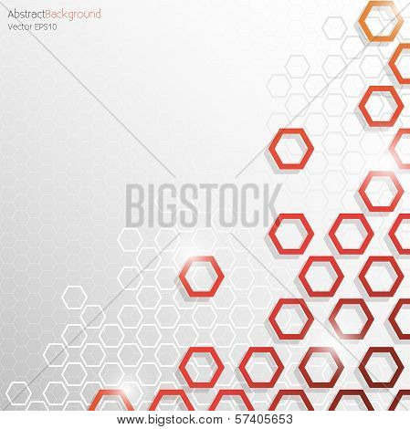 Abstract Background - Grey and Red Hexagon