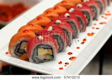 Rolls And Sushi Japanese Traditional Fish Food