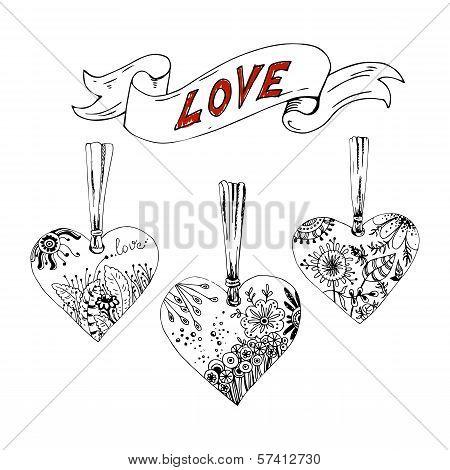 Sketch hearts with floral motif