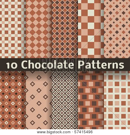 Chocolate vector seamless patterns (tiling).