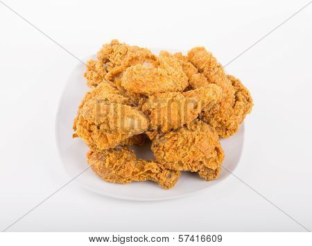 White Plate Of Fried Chicken From Above