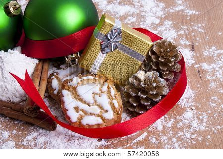 delicious cookies with Christmas decorations and wooden background
