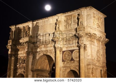 Constantine Arch Moon Close Rome Italy