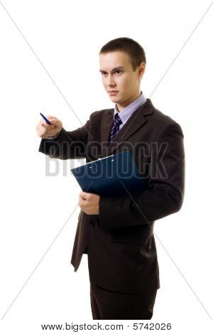 Confedent Young Business Person Point With Pen