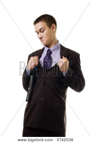 Young Man In Formal Suit Tear It Apart Because Of Wrong Size