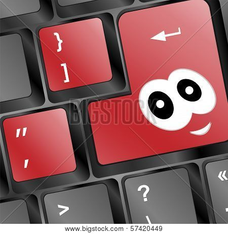 Computer Keyboard With Smile Key - Holiday Concept