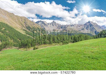 Beautiful Mountain Range Along The Bernina Pass Near St. Moritz, Grisons, Switzerland