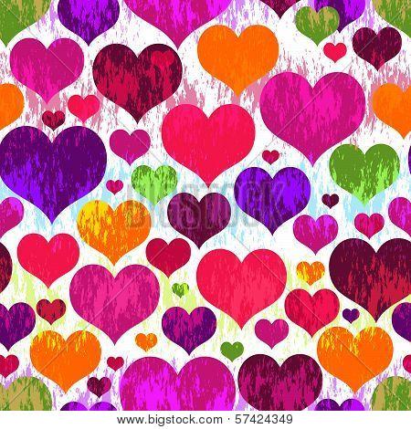Seamless Valentine Vivid Grunge Pattern
