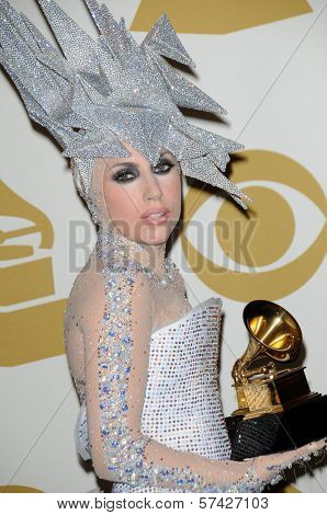 Lady Gaga at the 52nd Annual Grammy Awards, Press Room, Staples Center, Los Angeles, CA. 01-31-10