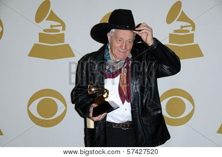 Ramblin Jack Elliot  at the 52nd Annual Grammy Awards, Press Room, Staples Center, Los Angeles, CA. 01-31-10