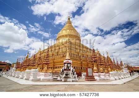 Shwezigon Pagoda with blue sky
