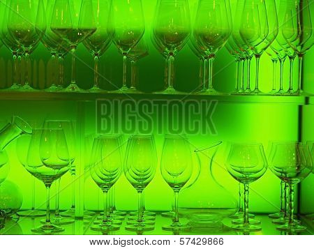 Crystal Glasses  Lined Up In Illuminated Plexiglass   Case
