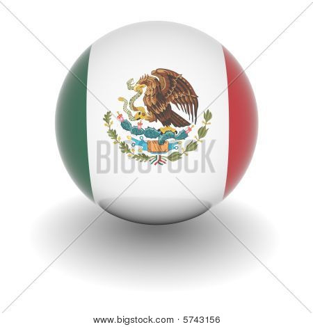 High Resolution Ball With Flag Of Mexico