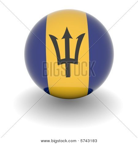 High Resolution Ball With Flag Of Barbados