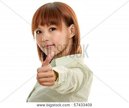 Asian Female In Green Shirt With Thumbs Up