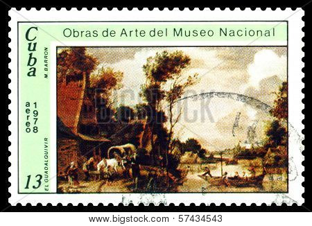 Vintage  Postage Stamp.  Guadalquivir, By M. Barron.