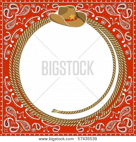 Cowboy Card Background With Hat And Rope