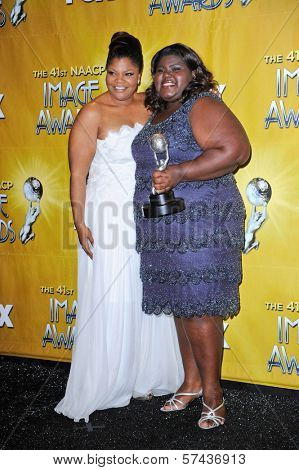 Mo'Nique and Gabourey Sidibe at the 41st NAACP Image Awards - Press Room, Shrine Auditorium, Los Angeles, CA. 02-26-2010