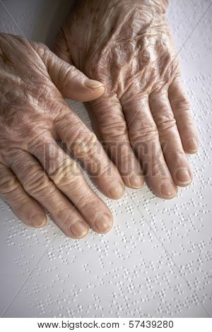 Old Womans Hands, Reading A Book With Braille Language