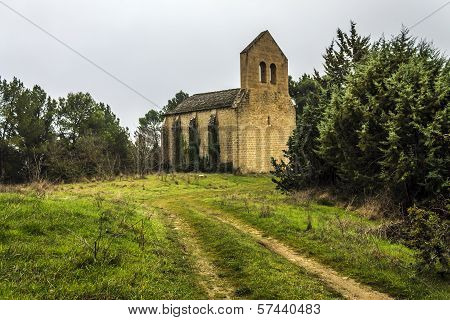 old church in the woods near the Puente de la Reina