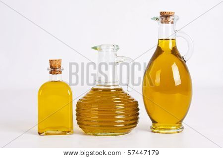 olive oil bottles isolated on white background