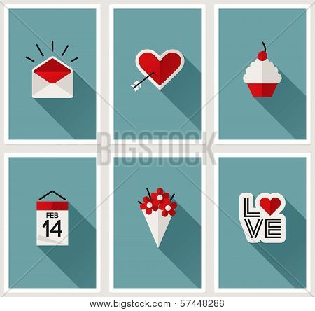 Set Of Romantic Valentines Day Symbols. Vector Illustration