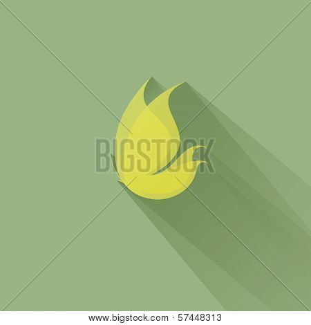 Yellow Butterfly On A Green Background. Vector Illustration