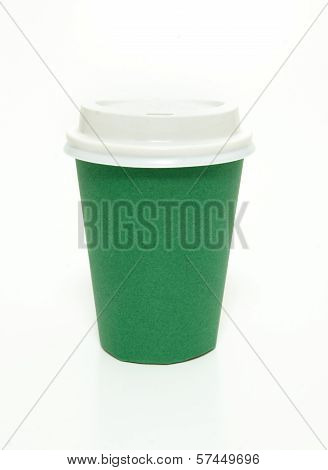 Green to go coffee cup