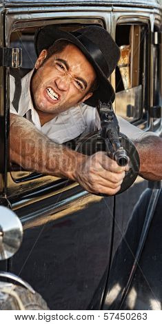 Angry Gangster Shooting Gun