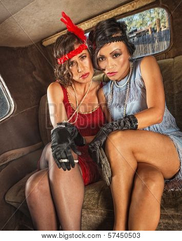 Smoking Flapper Women In Car