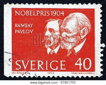 Postage Stamp Sweden 1964 Sir Ramsey And Pavlov