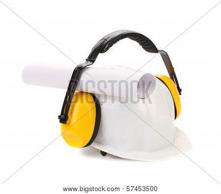 Protective ear muffs and hard hat