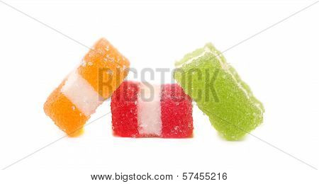 Different fruit-paste candies