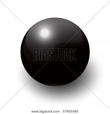 Black Glossy Snooker Ball