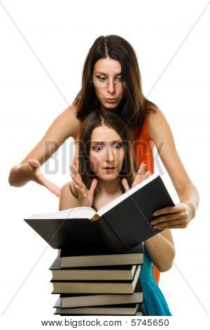 Wo Shocked Woman Look Into Book