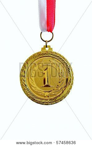 Gold medal, white background, vertical