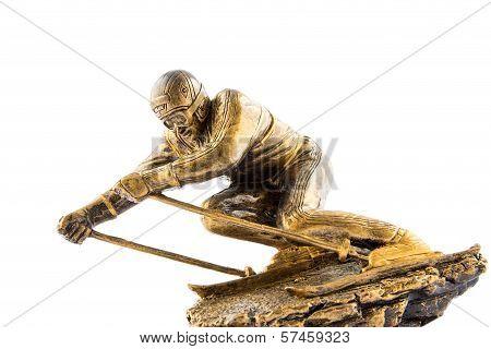 Gold ski champion statuette award