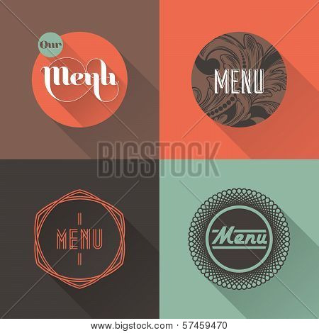 Labels For Restaurant Menu Design. Vector Illustration