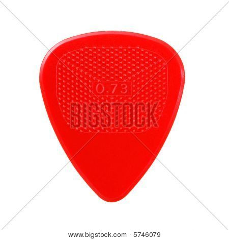 Red Ribbed Guitar Plectrum Isolated On White