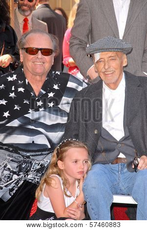 Jack Nicholson, Dennis Hopper and daughter Galen at the Hollywood Walk of Fame induction ceremony for Dennis Hopper, Hollywood Blvd., Hollywood, CA. 03-26-10