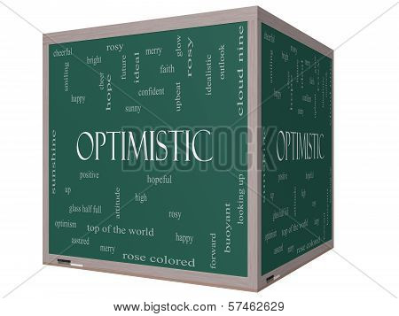 Optimistic Word Cloud Concept On A 3D Cube Blackboard
