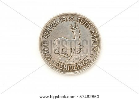 1949 Union Of South Africa Five Shilling Coin
