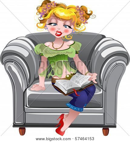 Girl Read Book On The White Armchair