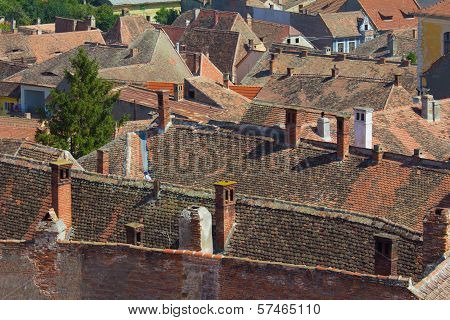 Red Tiled Roofs In Medieval European Town